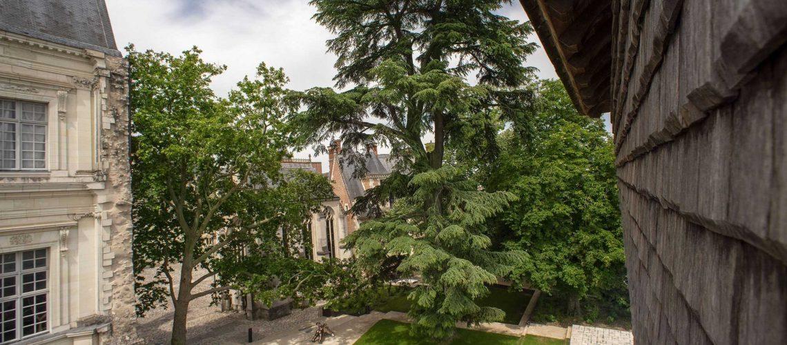 Le vendredi 22 mai 2020 à Blois au château royal des prises de vue photographiques des nouveaux jardins depuis la Tour du Foix et depuis les jardins eux-même.