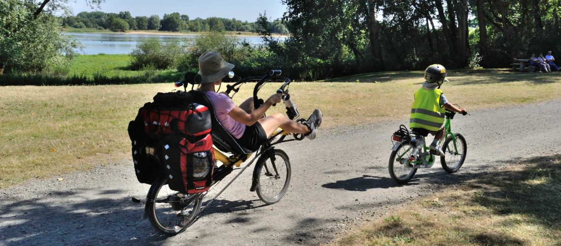 Bouchemaine, France - August 01- 2015: Bikes along the Loire at summer